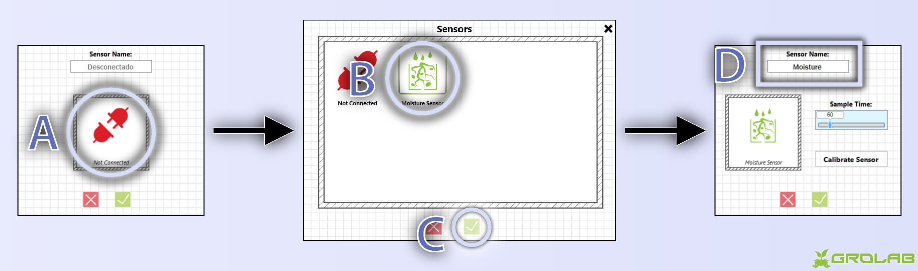 Instructions to configure SoilBot moisture sensor: A-With GroLab™ Software open inside devices/sensors configuration wizard, click on the icon representing current type (if not configured yet it shows a not connected icon); B-Choose the desired type, in this case moisture sensor; C-Click to apply; D-Set a name to the sensor.